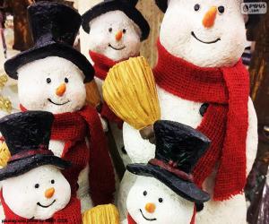 Puzzle de Cinco muñecos de nieve