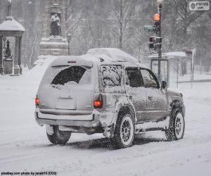 Puzzle de Coche circulando con nieve