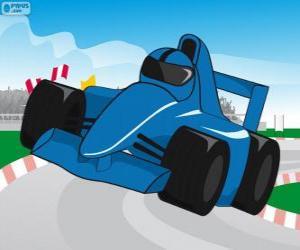 Puzzle de Coche de carreras de F1 azul