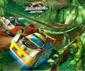 Puzzle de Coches de carreras en el circuito Hot Wheels