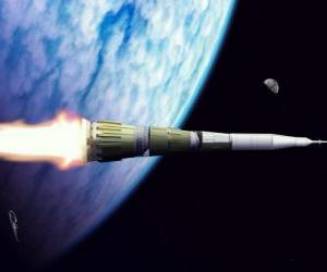 Puzzle de Cohete en la inmensidad del espacio exterior