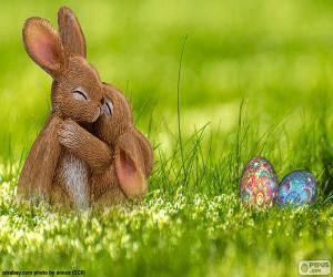 Puzzle de Conejos de Pascua abrazados