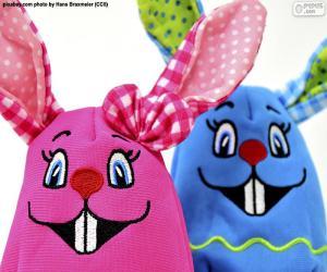Puzzle de Conejos de Pascua de trapo