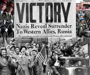 Puzzle de Conmemoración de la victoria de los Aliados sobre el Nazismo y el fin de la Segunda Guerra Mundial. Día de la Victoria, 8 de mayo de 1945