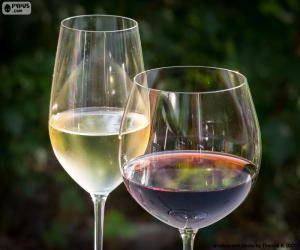 Puzzle de Copa de vino blanco y tinto