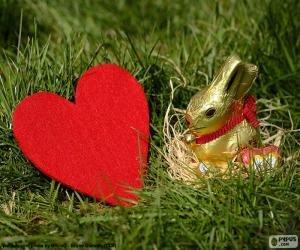 Puzzle de Corazón y conejo de Pascua
