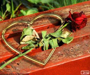 Puzzle de Corazón y rosa