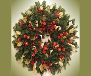 Puzzle de Corona de Navidad con frutos