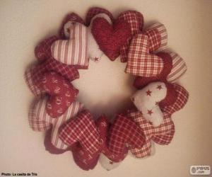 Puzzle de Corona de navidad de corazones