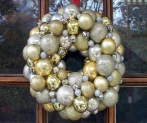 Puzzle de Corona de navidad, hecha con bolas