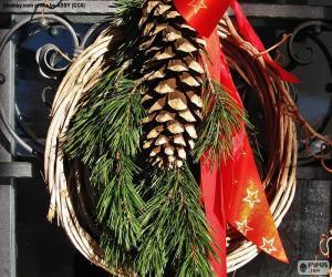 Puzzle de Corona de Navidad rústica