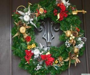 Puzzle de Corona navideña decorada