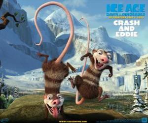 Puzzle de Crash y Eddie, dos zarigüeyas problematicas