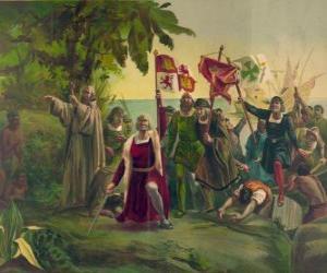 Puzzle de Cristóbal Colón con la espada desenvainada toma posesión de las nuevas tierras