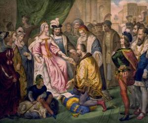 Puzzle de Cristóbal Colón hablando con la reina Isabel I de Castilla, en la corte de los Reyes Católicos