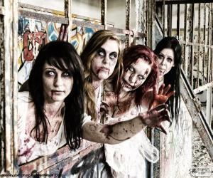 Puzzle de Cuatro zombies de Halloween