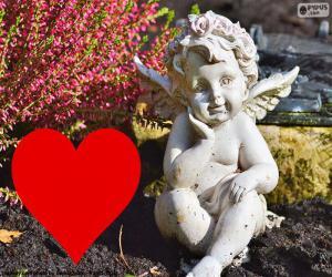 Puzzle de Cupido i corazón rojo