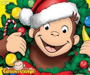 Puzzle de Curious George en Navidad