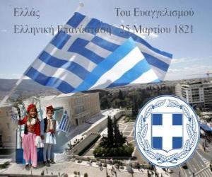 Puzzle de Día de la Independencia de Grecia, 25 de marzo de 1821. Guerra de la Independencia o Revolución Griega