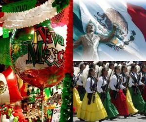 Puzzle de Día de la Independencia de México. Conmemora el 16 de septiembre de 1810, el Grito de Dolores, inicio de la lucha contra la dominación española