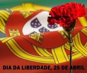 Puzzle de Día de la Libertad, 25 de abril, fiesta nacional de Portugal en conmemoración de la Revolución de los Claveles de 1974