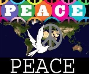 Puzzle de Día Internacional de la Paz. Día Mundial de la Paz. El 21 de septiembre se dedica a la paz y a la ausencia de guerra