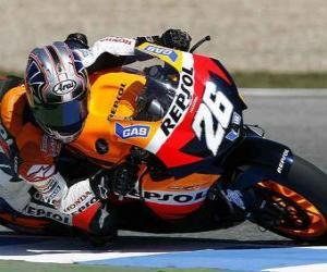 Puzzle de Dani Pedrosa pilotando su moto GP