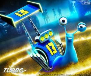 Puzzle de Derrape, el caracol de carreras con el número 13