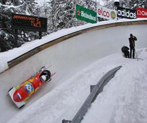 Puzzle de Descenso en bobsleigh o bobsled a dos