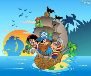 Puzzle de Dibujo de barco pirata