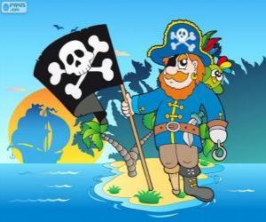 Puzzle de Dibujo de capitán pirata