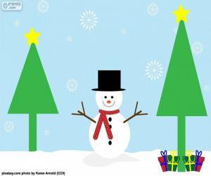 Puzzle de Dibujo de muñeco de nieve