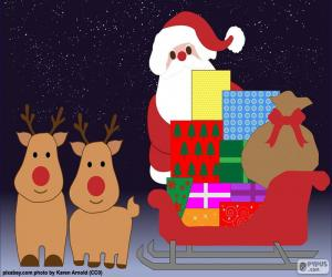 Puzzle de Dibujo trineo de Papá Noel