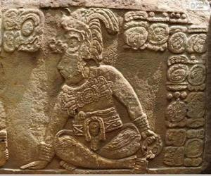 Puzzle de Dibujos mayas esculpidos en una piedra
