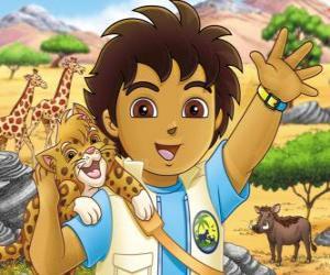 Puzzle de Diego y Bebé Jaguar ayudan a los animales en peligro en la série Go, Diego, Go!