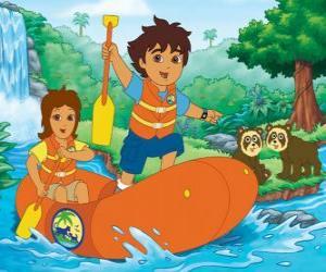 Puzzle de Diego y su madre en un bote hinchable