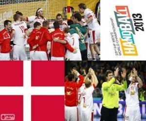 Puzzle de Dinamarca medalla de Plata en el Mundial de Balonmano 2013