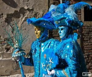 Puzzle de Disfraces azules
