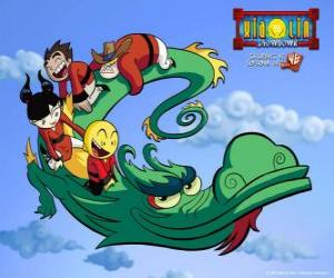 Puzzle de Dojo Kanojo Cho, el dragón de los guerreros Xiaolin puede cambiar su forma