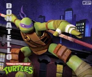Puzzle de Donatello, el arma de esta tortuga ninja es el largo bastón japonés Bo