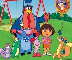 Puzzle de Dora con algunos amigos