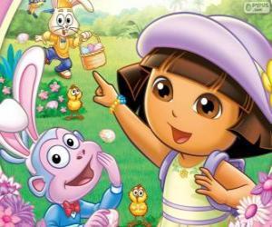 Puzzle de Dora la exploradora en pascua