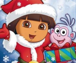 Puzzle de Dora la exploradora te desea unas felices fiestas navideñas
