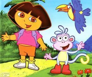 Puzzle de Dora la exploradora y su amigo el mono Botas