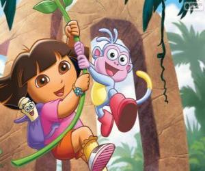 Puzzle de Dora y Botas en una de sus aventuras