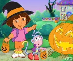 Puzzle de Dora y el mono Botas celebran Halloween