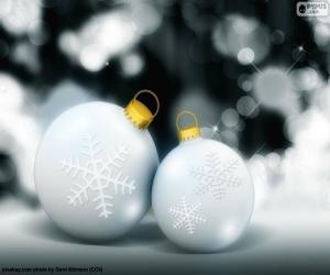 Puzzle de Dos bolas blancas Navidad