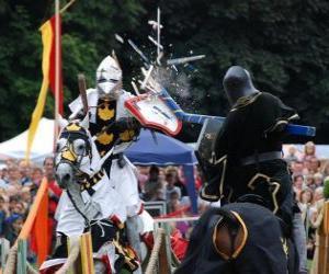 Puzzle de Dos caballeros montados en sus caballos participando en un torneo