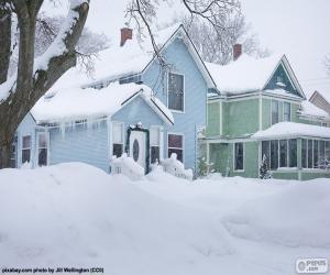 Puzzle de Dos casas nevadas