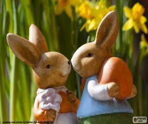 Puzzle de Dos conejos de Pascua